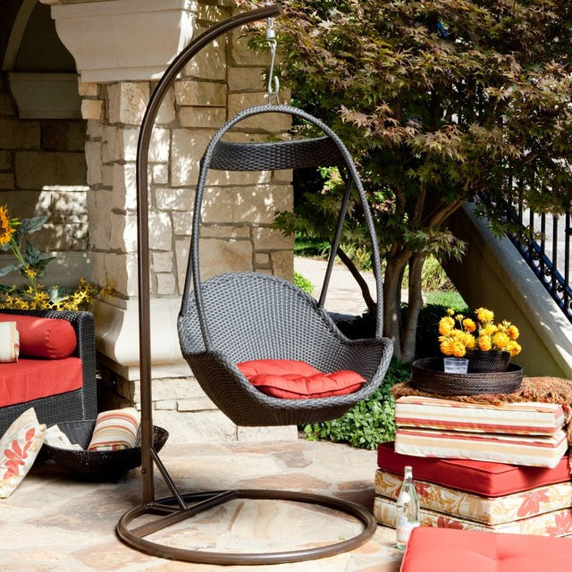 Haven All Weather Wicker Swing Chair - modern - outdoor swingsets ...