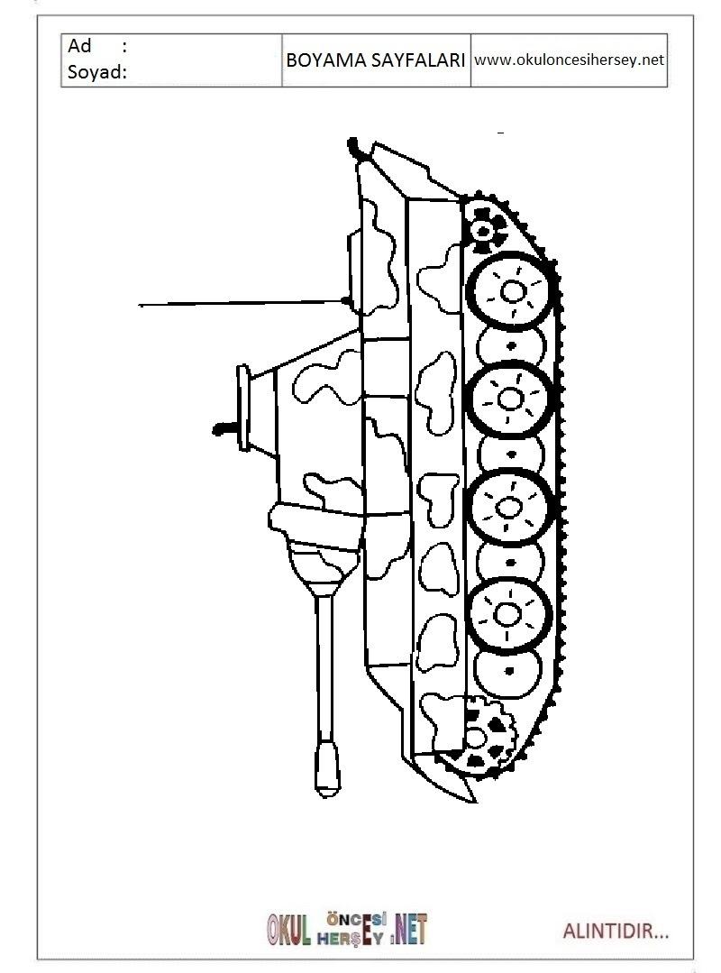 Tank Boyama Sayfaları