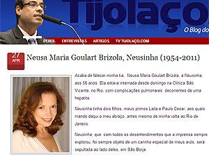 O deputado federal Brizola Neto anunciou a morte da tia em seu blog (Foto: Reprodução / Internet)