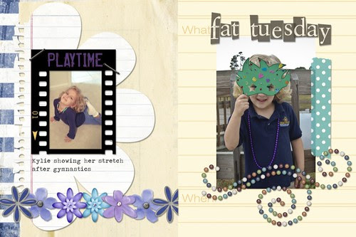 Project Life, Week 8 page 1 closer look- playtime and fat tuesday