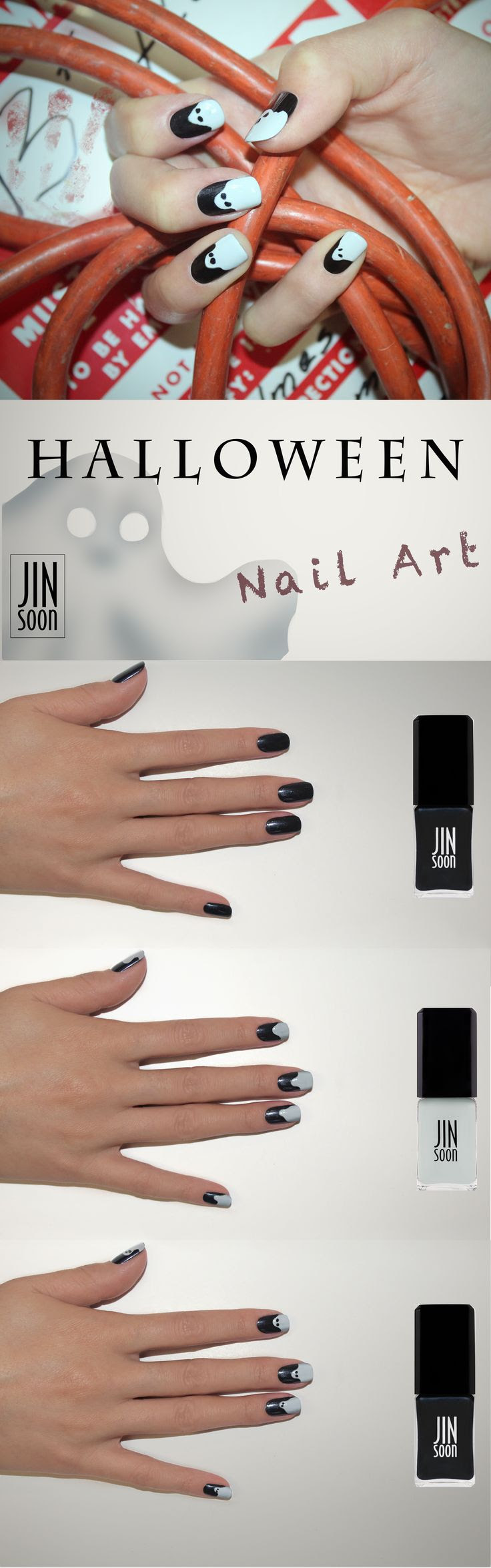 JINsoon #Halloween 'Ghostly Horro' nail inspo. Get the look:  Preparation Step: Apply a coat of JINsoon Power Coat.  Step 1: Apply JINsoon Nocturne on each nail.  Step 2: At the tips of the nail draw ghostly shapes with JINsoon Kookie White (the kind of ghost is up to your imagination) Step 3: With the very tip of the brush, dot JINsoon Nocturne where you would like the eyes to be.  Step 5: To finish it off apply a coat of JINsoon Top Gloss.