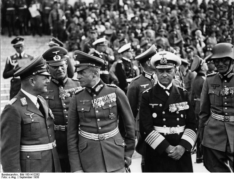 Erhard Milch, Wilhelm Keitel, Walther von Brauchitsch, Erich Raeder, and Maximilian von Weichs during a Nazi rally in Nuremberg, Germany, 12 Sep 1938