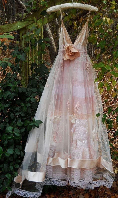 Blush wedding dress vintage tulle satin beading ethereal