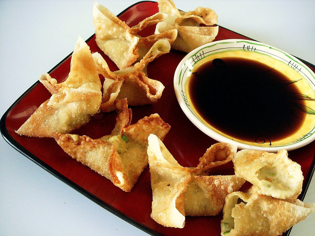split pea crab rangoon with sticky ginger-garlic dipping sauce