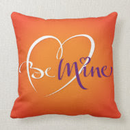 Be Mine Pillow (orange back) throwpillow