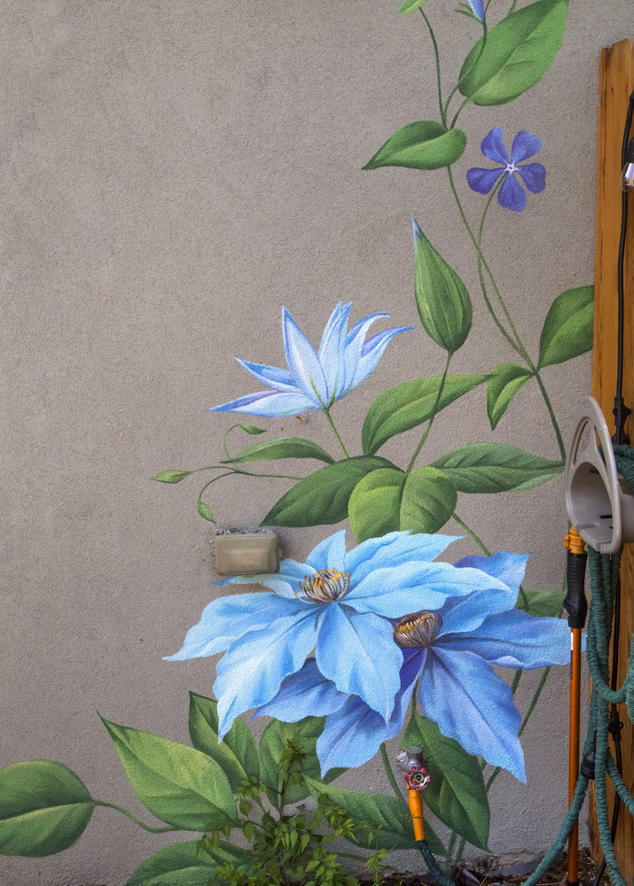 Flower Wall Art Mural Painted On The Walls Of A Private House In Denver