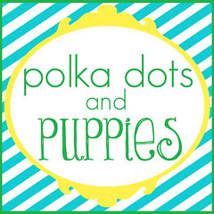 polka dots and puppies turq striped button 3x3inch