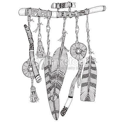 Atrapasueños Con Plumas Y Ramas Estilo De Doodle Blanco Y Negro Mano