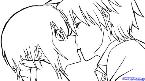 sketch  anime kiss step  step anime people