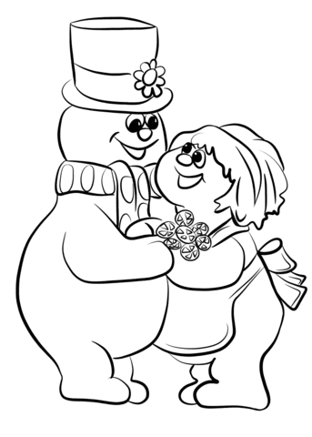 frosty the snowman with crystal coloring page  free printable coloring pages