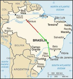 Map of Brazil showing the presumed flight path...