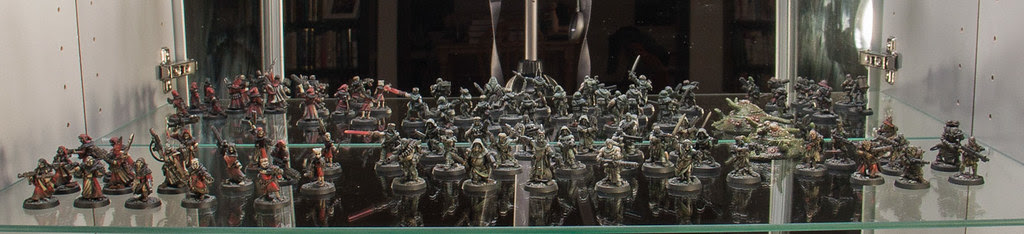 Necromunda figures on display
