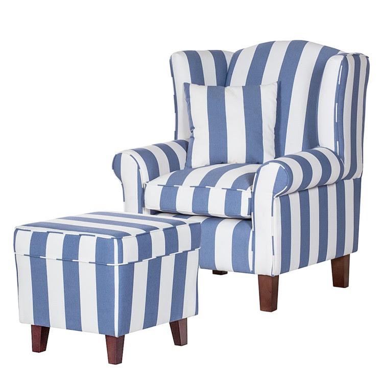 Sessel Colmar - Webstoff Blau gestreift