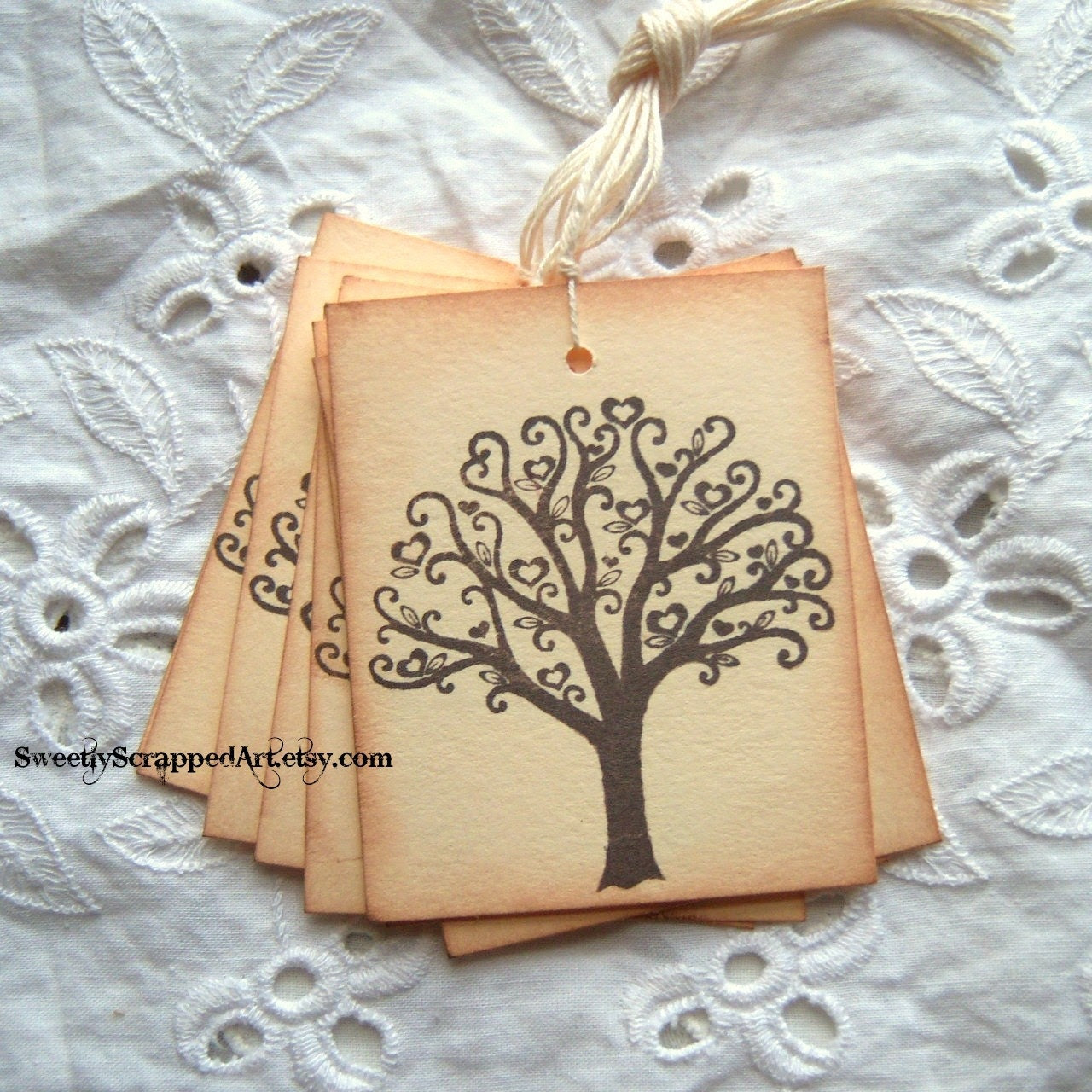 TREE Tags with a Love feel, Vintage Inspired, Hand Aged 10