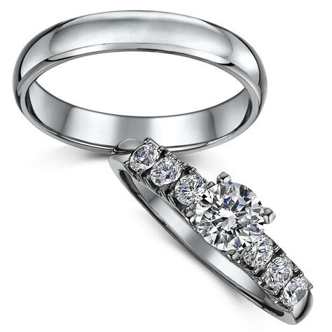 Titanium Solitaire Engagement & Wedding Ring Set   Bridal