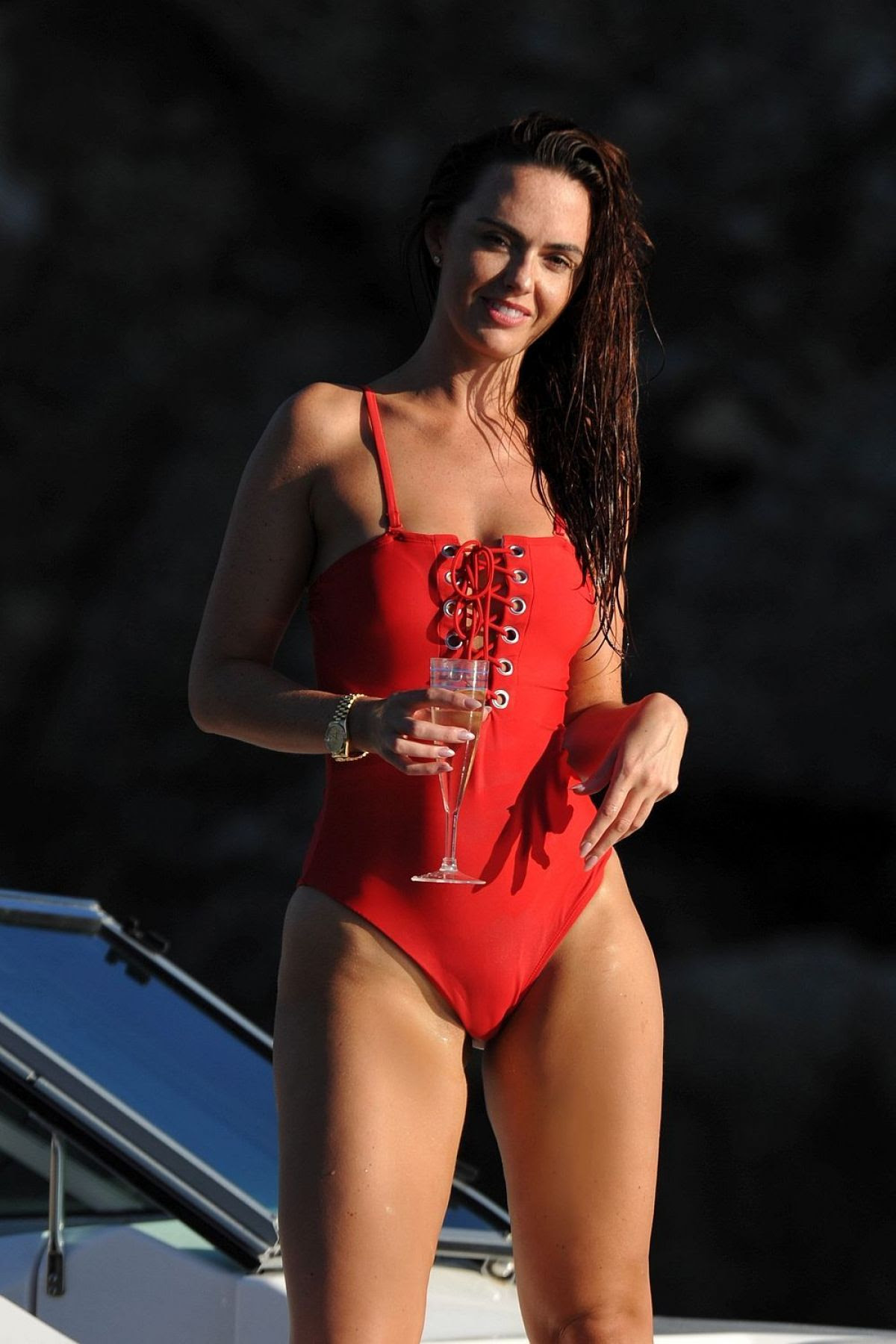 JENNIFER METCALFE in Wwimsuit at a Boat in Spain 11/05/2015