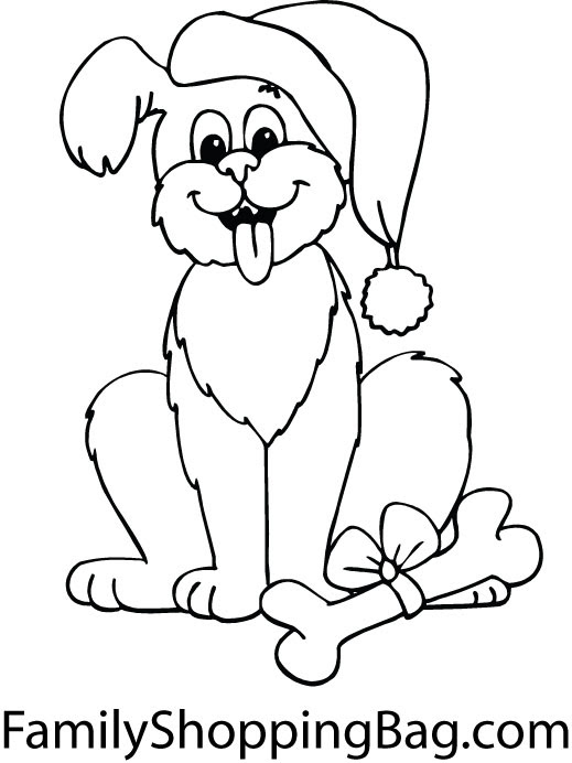 Christmas puppy colouring page | Activities | Kidspot | 692x519