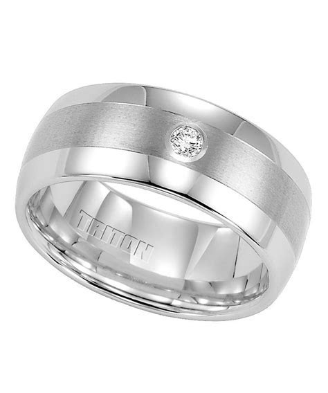 Triton, White Tungsten Carbide 9mm Diamond Wedding Band