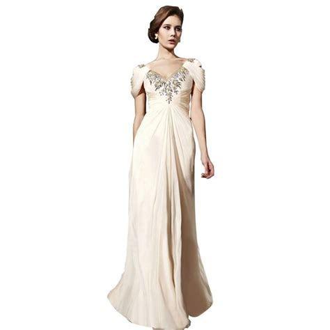 Cream Sheath/ Column V Neck Floor Length Chiffon Wedding