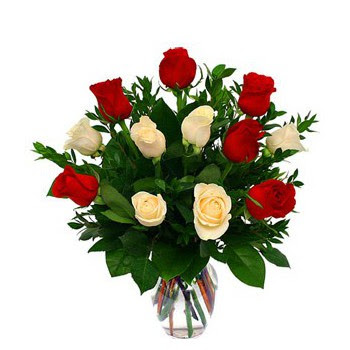 Bahrain I Love You Flower Delivery Red And White Roses