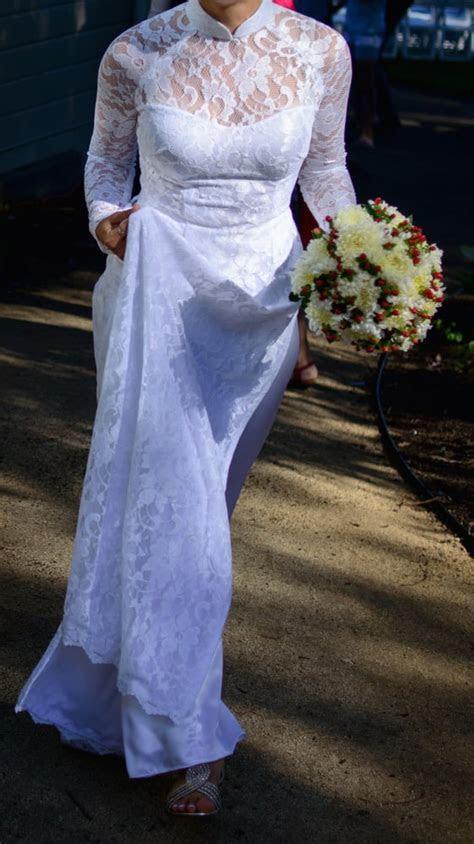 White on white ao dai wedding dress, with 2' train   Yelp