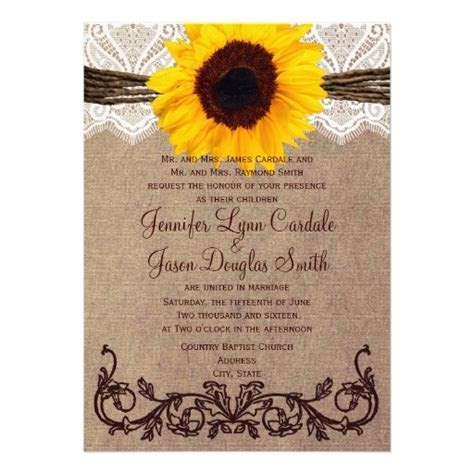 Rustic Country Sunflower Wedding Invitations   Paper, Lace