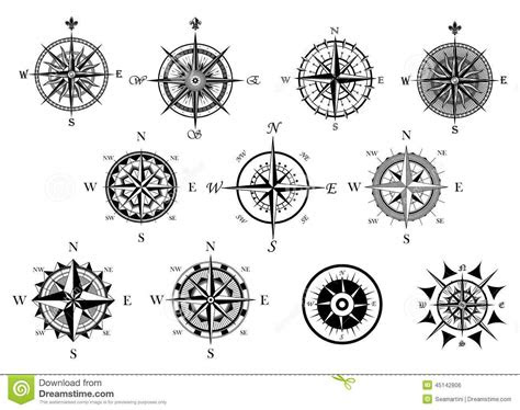 nautical wind rose compass icons set
