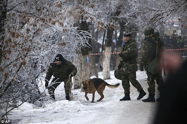 Investigating: Police officers use a sniffer dog to examine territory around the site of a trolleybus explosion in Volgograd, Russia