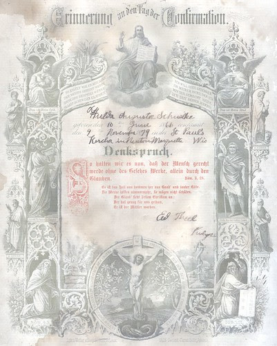Color Large Confirmation Certificate Hulda Schulke