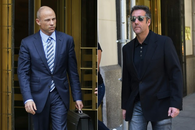 L'avocat de Stomy Daniels Michael Avenatti et l'ex-avocat... (PHOTOS AFP)