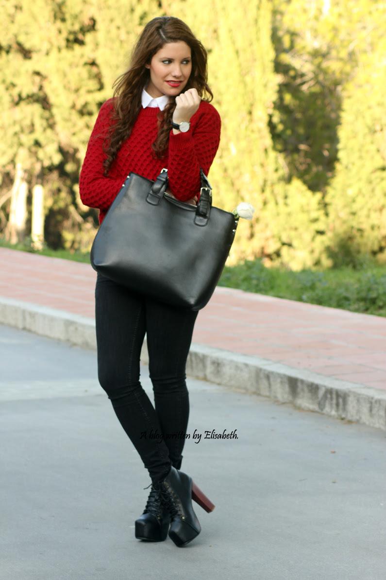 Jersey-rojo-con-camisa-blanca-y-botines-de-tacón-HEELSANDROSES-(1)