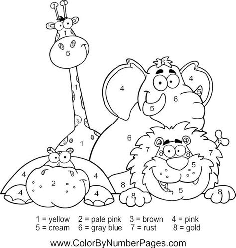 zoo animals color  number page fun kid printables