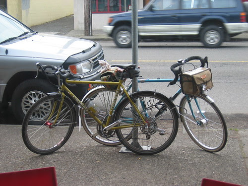 Natalie's and Lynne's bikes waiting outside