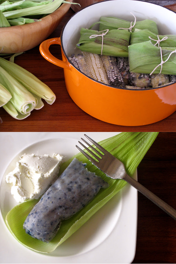 Manolo's fresh blue corn tamales (tamales de elote azul)