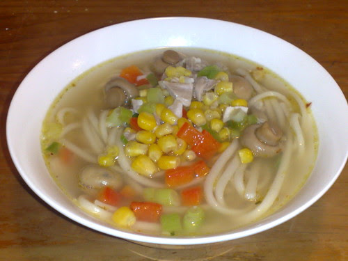 Chicken and udon soup