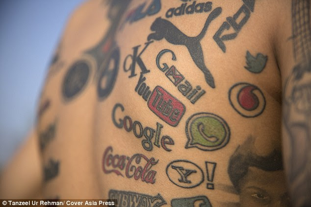 Indian tattooist has 189 of his favourite companies' logos ...