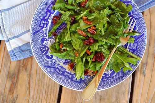 Arugula Salad With Candied Pecans & Cherries by Eve Fox, the Garden of Eating blog, copyright 2013