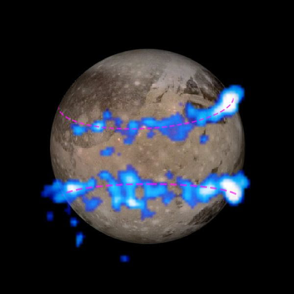 A composite image of aurorae being generated by Jupiter's moon Ganymede...which, like Europa, may harbor a large subsurface water ocean.