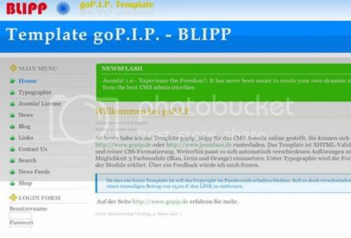 Joomla Blipp Green Bleu Web2.0 Theme Template