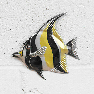 Fishing Nautical Sea Large Fish Wall Art Plaque 52 Cm Made From Welded Metal Indian South Asian Tapestries Home Garden