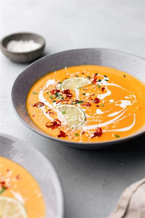 thai sweet potato carrot soup cupful  kale
