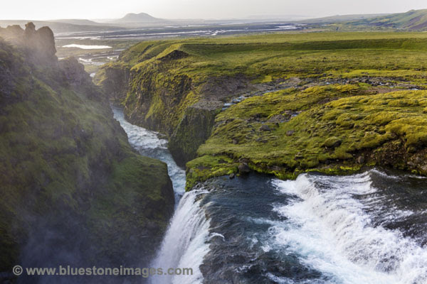 01M-0283 The River Syori-Ofaera Flowing Over the Waterfall Near the Hlaskjol Mountain Hut At Sunrise Iceland.