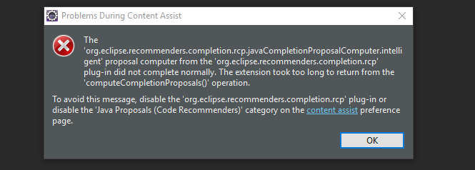 Eclipse Neon - Content Assist Timing Out