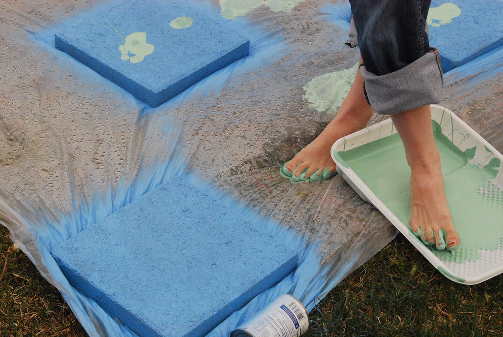 painted foot print paver stones