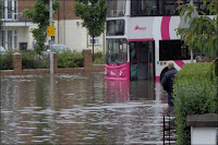 Declan Bailie's photo of flooded Castlereagh Road, via the BBC