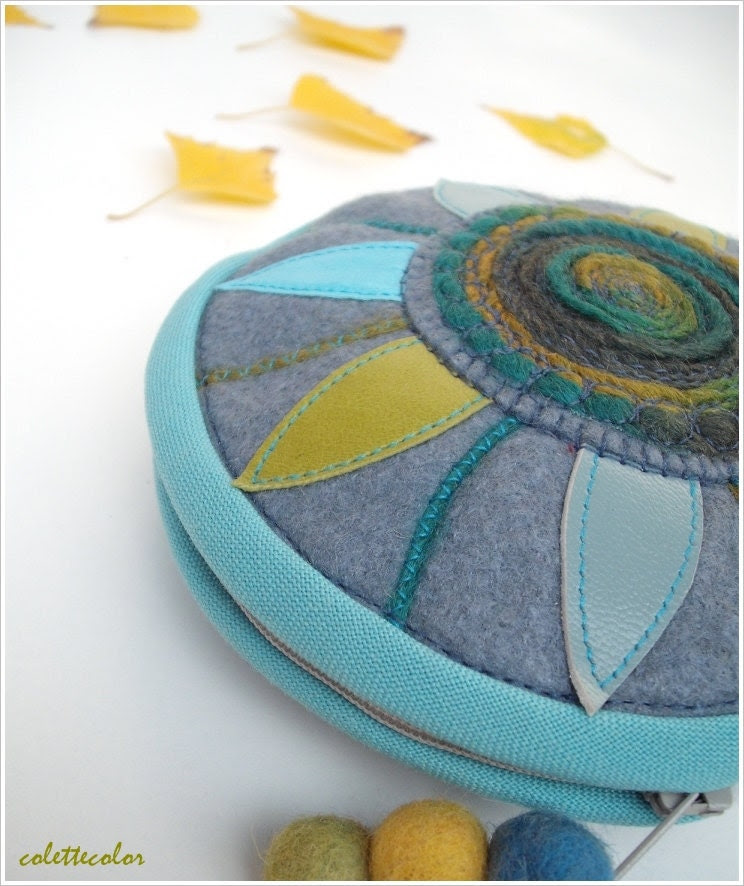 Sunflower circular unique ornamented zipper pouch grayish blue and turquoise colours