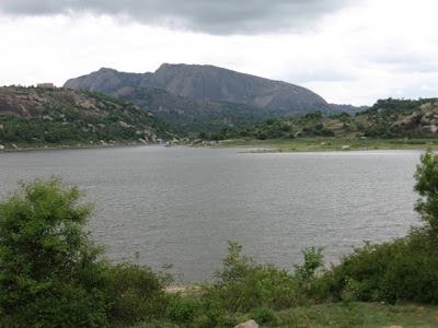 Manchinabele Backwaters with Savanadurga in the background