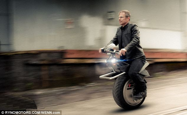 The RYNO, pictured, is a one-wheeled, battery-powered scooter that can travel of speeds up to 25mph.