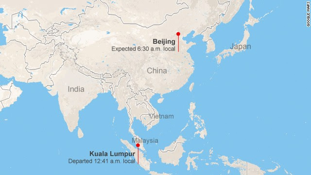 Map: Malaysia airliner lost contact