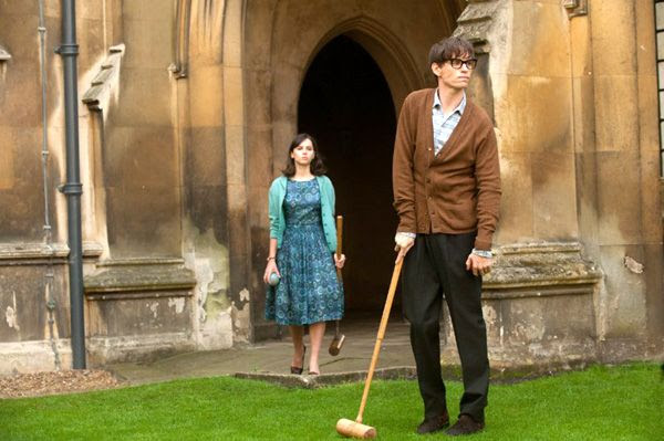 Jane Wilde watches as Stephen Hawking struggles with the effects of MND while playing a game of croquet in THE THEORY OF EVERYTHING.